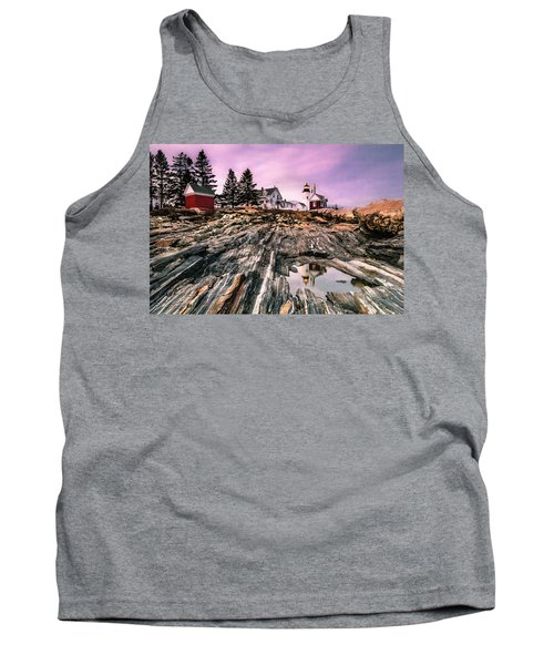 Tank Top featuring the photograph Maine Pemaquid Lighthouse Reflection In Summer by Ranjay Mitra