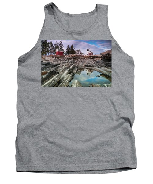 Maine Pemaquid Lighthouse Reflection Tank Top by Ranjay Mitra