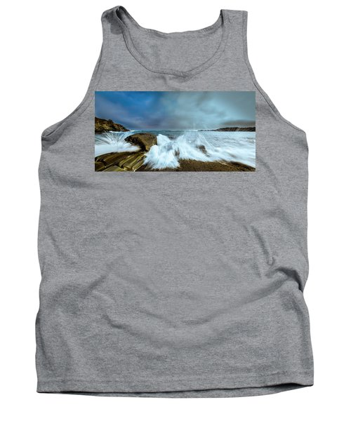 Maine Rocky Coast During Storm At Two Lights Tank Top