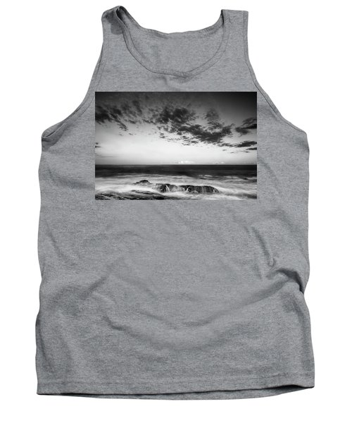 Maine Rocky Coast With Boulders And Clouds At Two Lights Park Tank Top by Ranjay Mitra