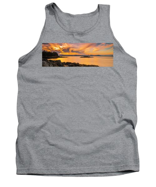 Maine Rocky Coastal Sunset In Penobscot Bay Panorama Tank Top