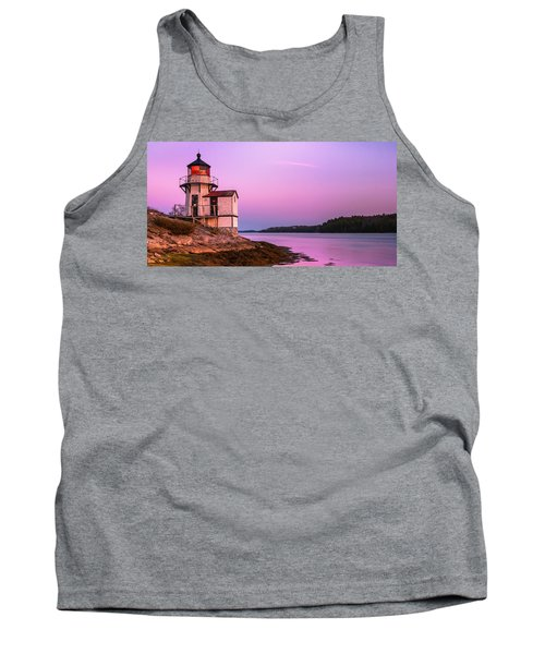 Maine Squirrel Point Lighthouse On Kennebec River Sunset Panorama Tank Top