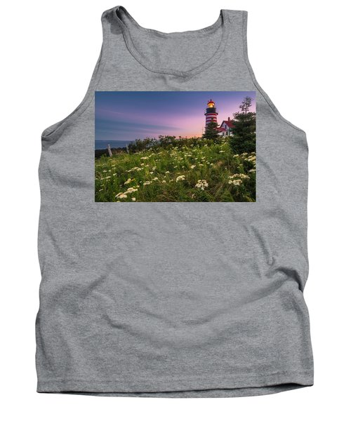 Tank Top featuring the photograph Maine West Quoddy Head Lighthouse Sunset by Ranjay Mitra