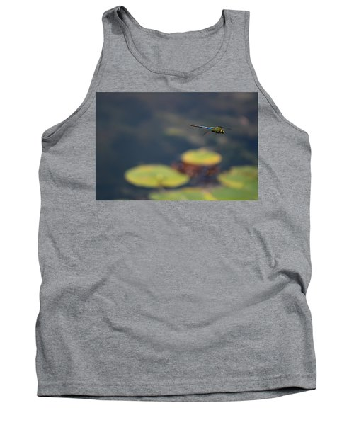 Malibu Blue Dragonfly Flying Over Lotus Pond Tank Top