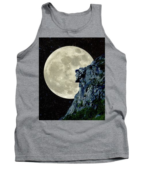 Man In The Moon Meets Old Man Of The Mountain Vertical Tank Top by Larry Landolfi