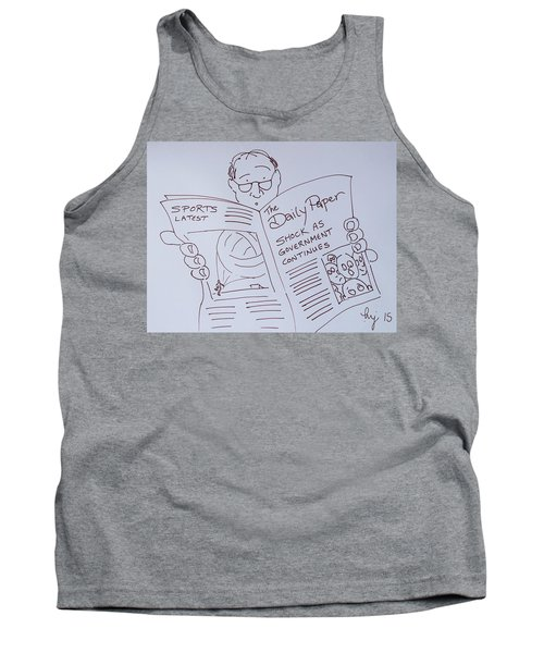 Man Reading A Newspaper Cartoon - What Is The World Coming To Tank Top
