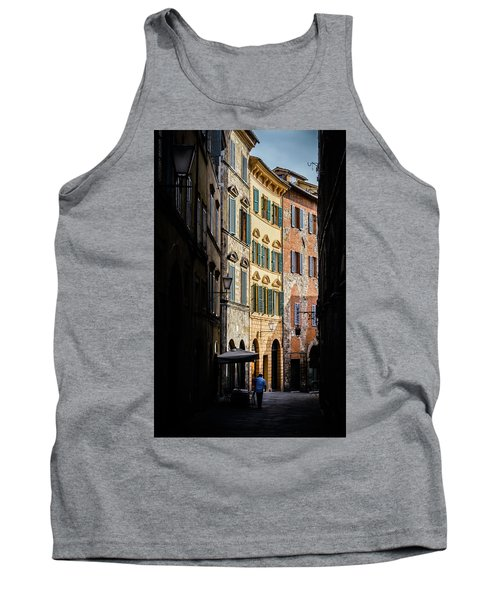 Man Walking Alone In Small Street In Siena, Tuscany, Italy Tank Top