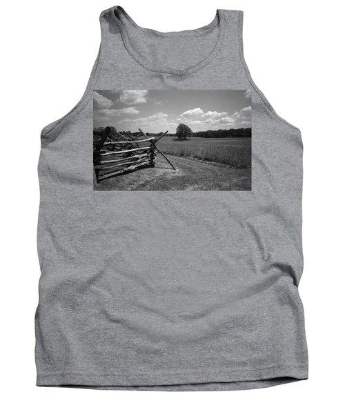 Tank Top featuring the photograph Manassas Battlefield Bw by Frank Romeo