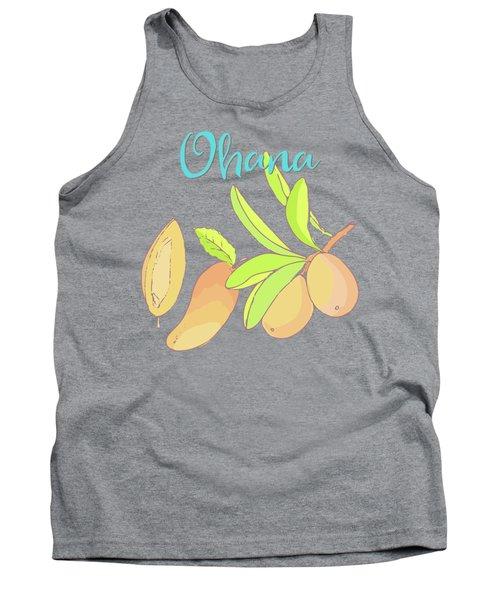 Mango Ohana Tropical Hawaiian Design Of Fruit And Family Tank Top