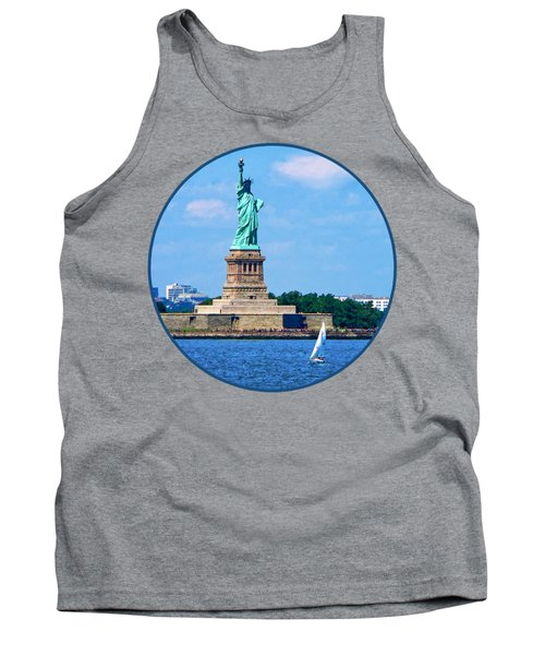 Manhattan - Sailboat By Statue Of Liberty Tank Top
