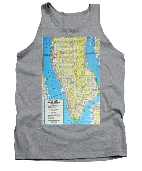 Map Lower Manhattan Nyc Tank Top