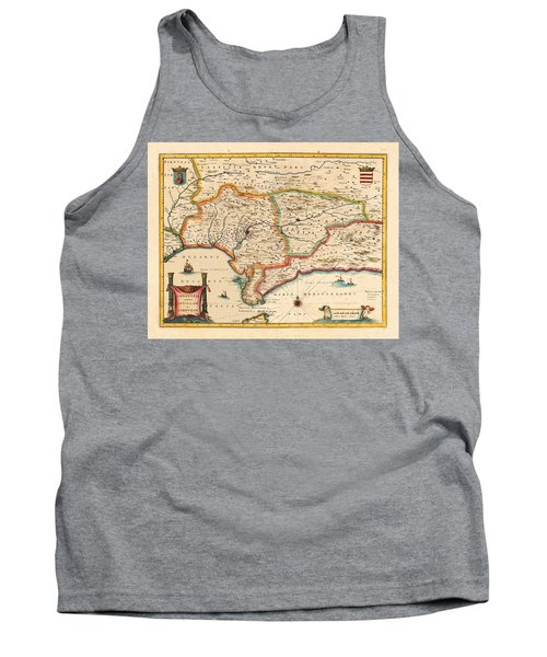 Map Of Andalusia 1650 Tank Top by Andrew Fare