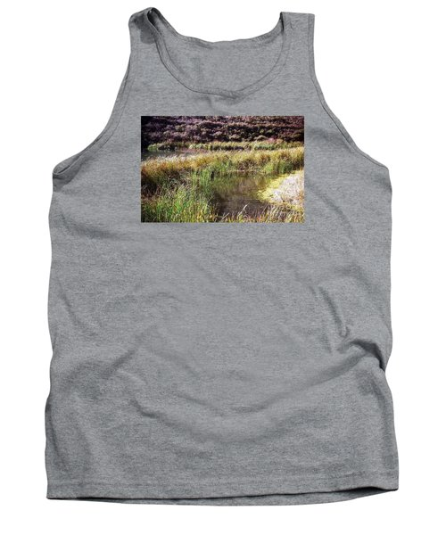 Marine Headlands Pond And Flowers Tank Top by Ted Pollard