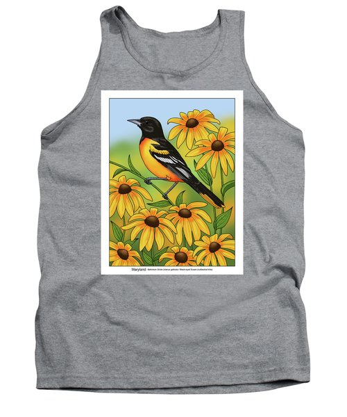 Maryland State Bird Oriole And Daisy Flower Tank Top by Crista Forest