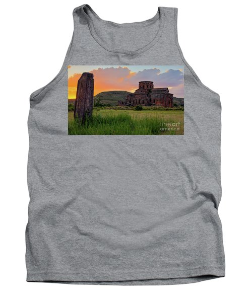 Mediaval Talin's Cathedral At Sunset With Cross Stone In Front, Armenia Tank Top