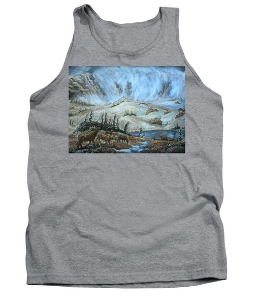 Tank Top featuring the painting Medicine Bow Peak In Clouds With Elk by Dawn Senior-Trask