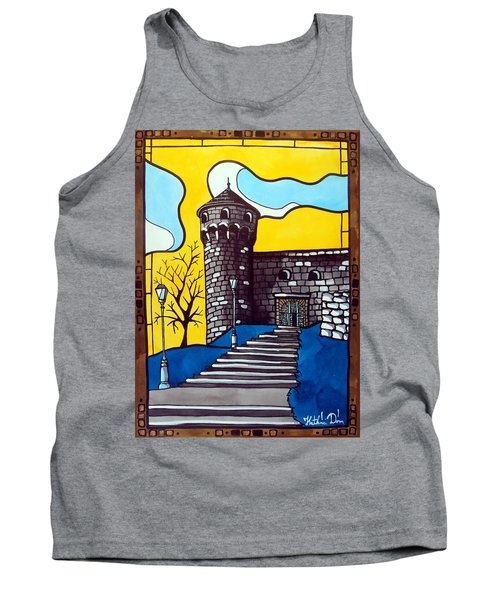 Tank Top featuring the painting Medieval Bastion -  Mace Tower Of Buda Castle Hungary By Dora Hathazi Mendes by Dora Hathazi Mendes