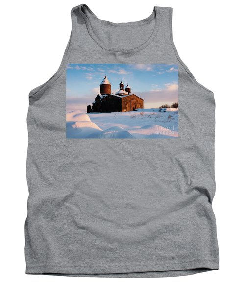 Medieval Saghmosavank Monastery Covered By Snow At Sunset, Armenia Tank Top