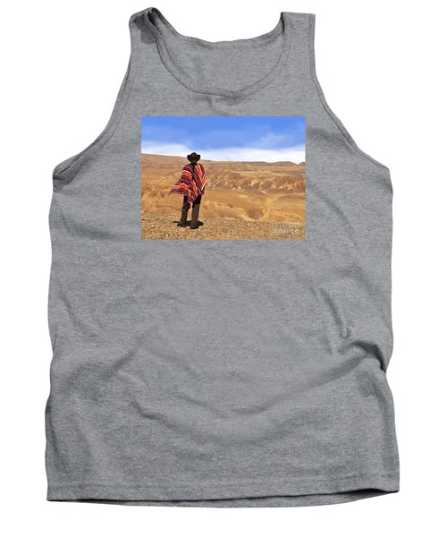 Man In A Poncho In The Desert Tank Top