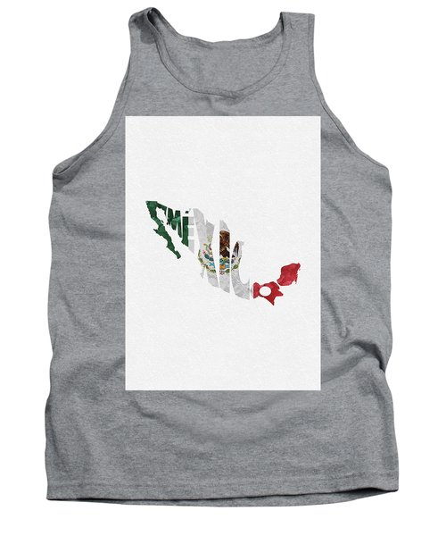 Mexico Typographic Map Flag Tank Top
