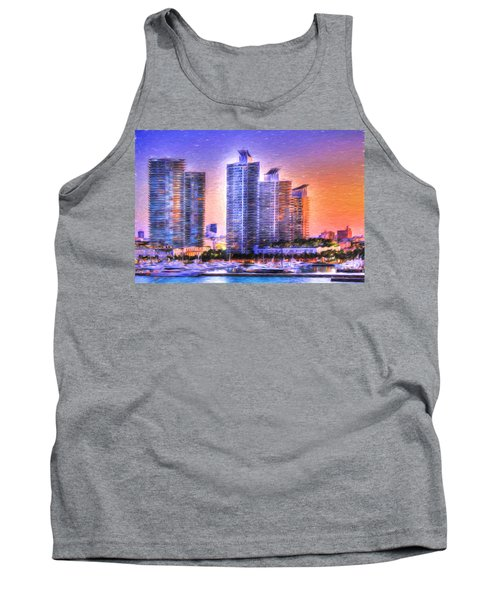 Tank Top featuring the photograph Miami Skyline Sunrise by Shelley Neff