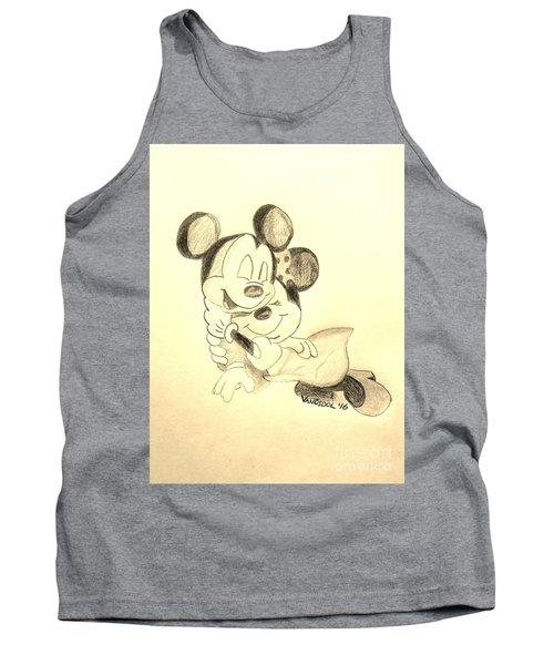 Mickey Minnie Cuddle Buddies - Sepia Tank Top by Scott D Van Osdol