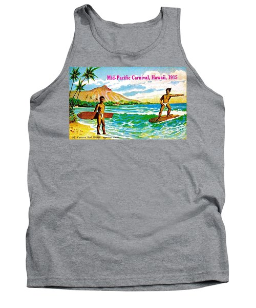 Tank Top featuring the painting Mid Pacific Carnival Hawaii Surfing 1915 by Peter Gumaer Ogden