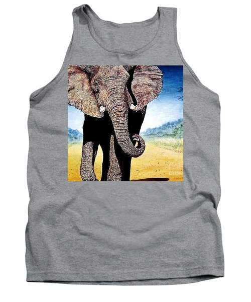 Tank Top featuring the painting Mighty Elephant by Hartmut Jager