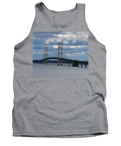 Mighty Mac The Mackinac Bridge Tank Top by Keith Stokes
