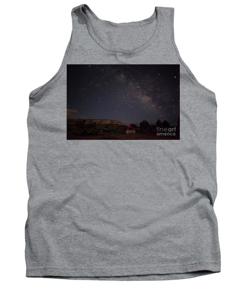 Milky Way Over White Pocket Campground Tank Top by Anne Rodkin