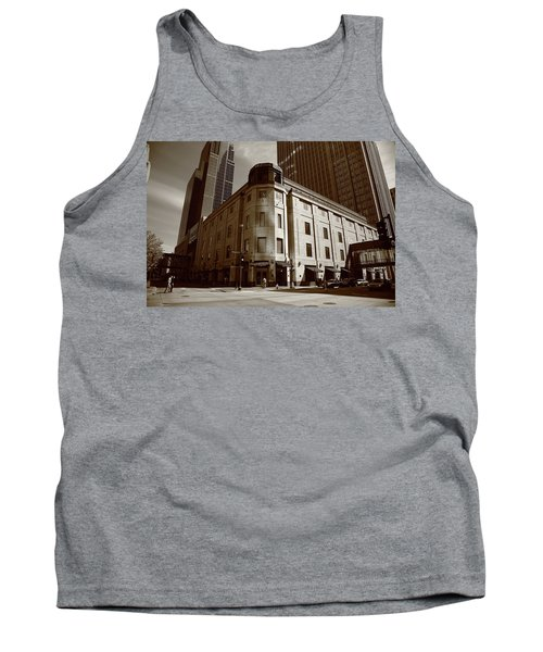 Tank Top featuring the photograph Minneapolis Downtown Sepia by Frank Romeo