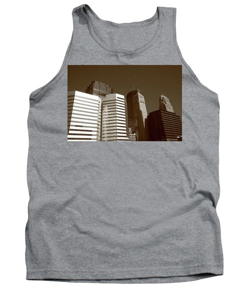 Tank Top featuring the photograph Minneapolis Skyscrapers 5 Sepia by Frank Romeo