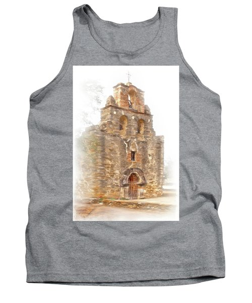 Tank Top featuring the photograph Mission San Francisco De La Espada In Faux Pencil Drawing  by David and Carol Kelly