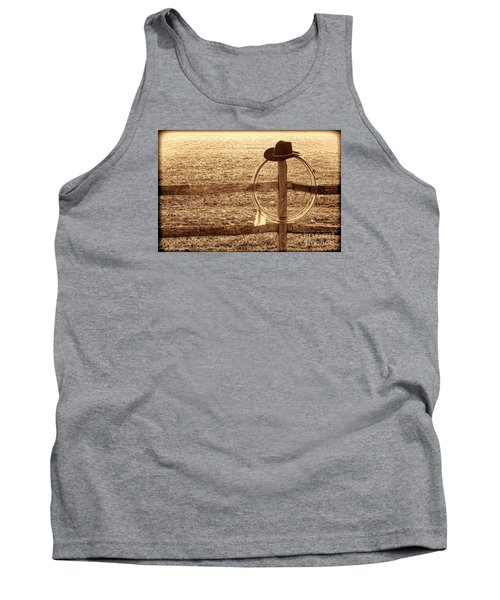 Misty Morning At The Ranch Tank Top by American West Legend By Olivier Le Queinec