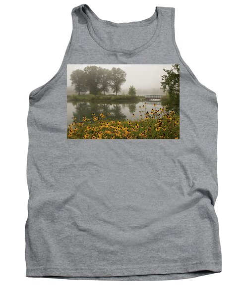 Misty Pond Bridge Reflection #3 Tank Top
