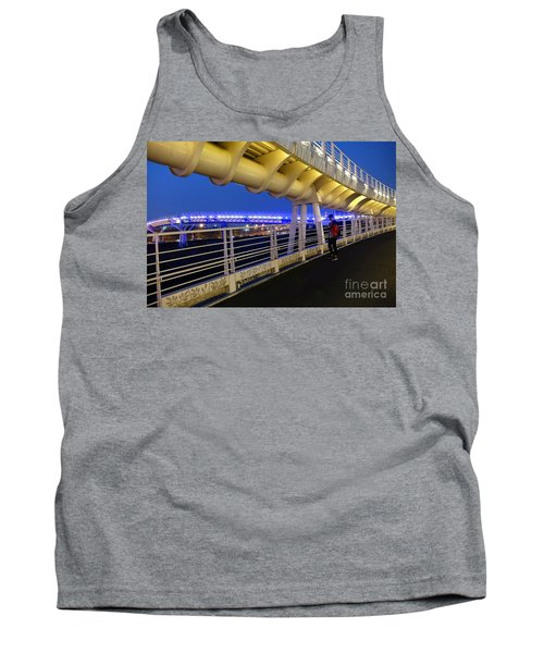 Tank Top featuring the photograph Modern Bicycle Overpass By Night by Yali Shi