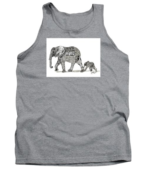 Momma And Baby Elephant Tank Top by Kathy Sheeran