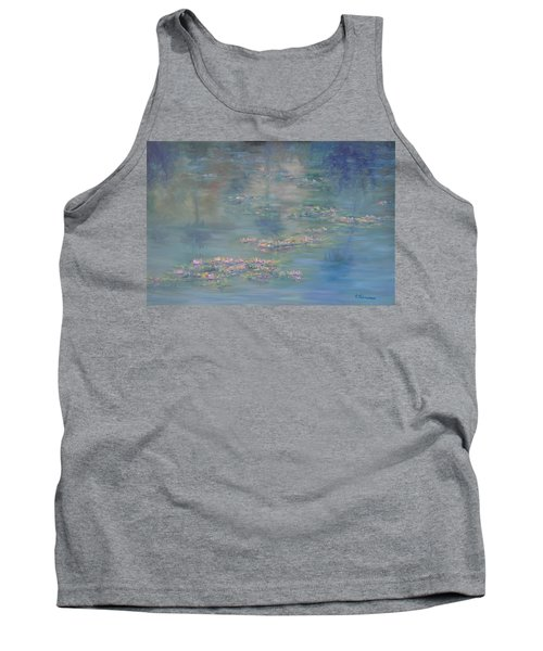 Monet Style Water Lily Peaceful Tropical Garden Painting Print Tank Top