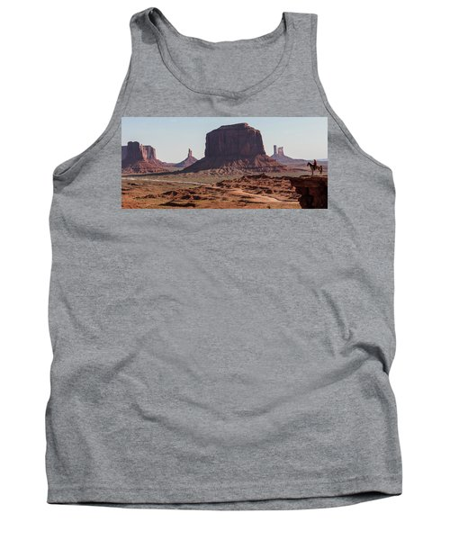 Monument Valley Man On Horse Sunrise  Tank Top