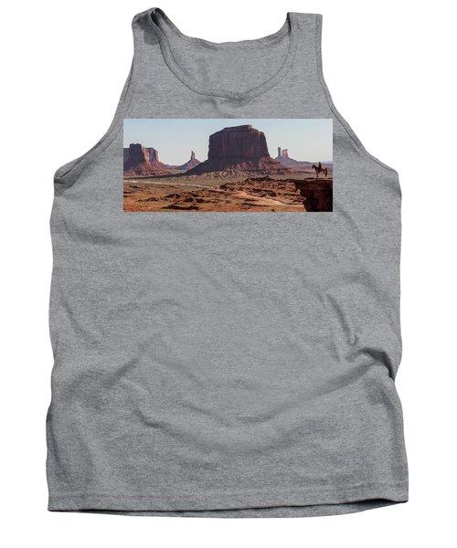 Monument Valley Man On Horse Sunrise  Tank Top