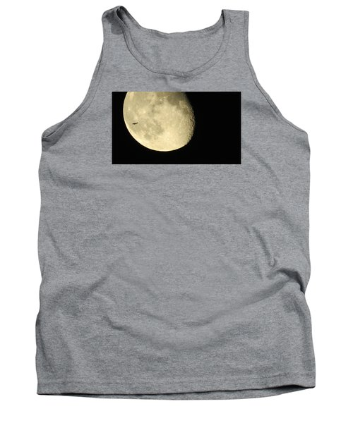Tank Top featuring the photograph Moon And Plane Over Sanibel by Melinda Saminski