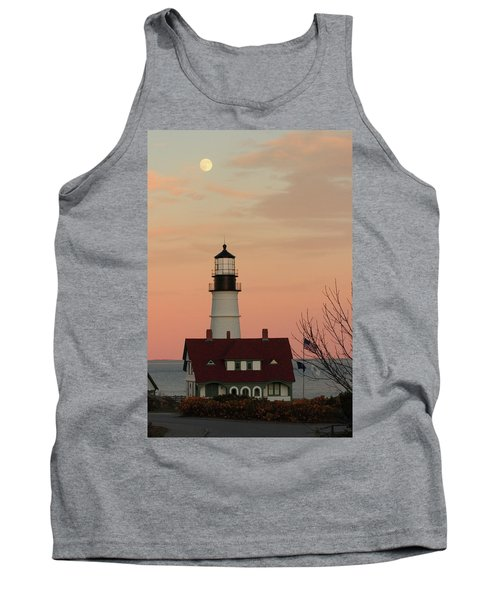 Moon Over Portland Head Lighthouse Tank Top by Lou Ford