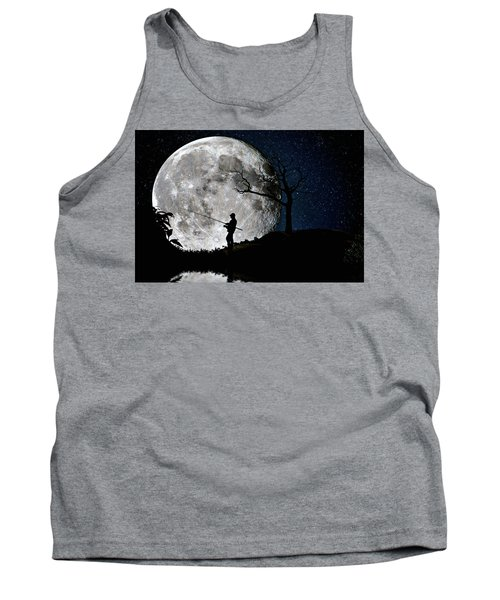 Tank Top featuring the photograph Moonlight Fishing Under The Supermoon At Night by Justin Kelefas