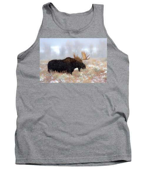 Tank Top featuring the photograph Moose In The Fog Silhouette by Adam Jewell