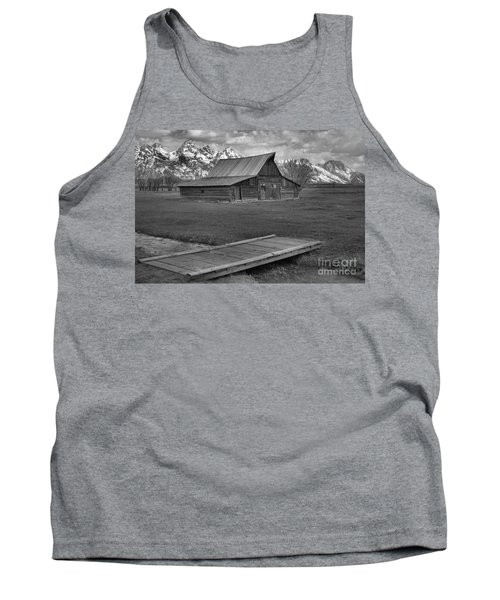 Mormon Row Water Crossing Black And White Tank Top by Adam Jewell