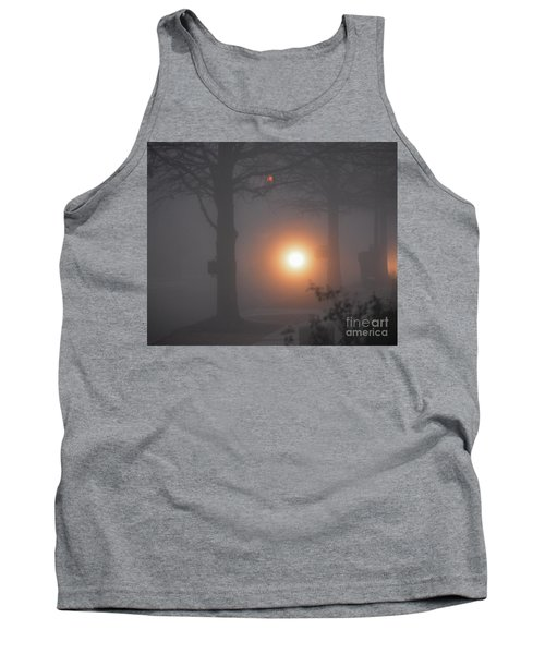 Motorcycle In The Fog In Loganville Georgia Tank Top