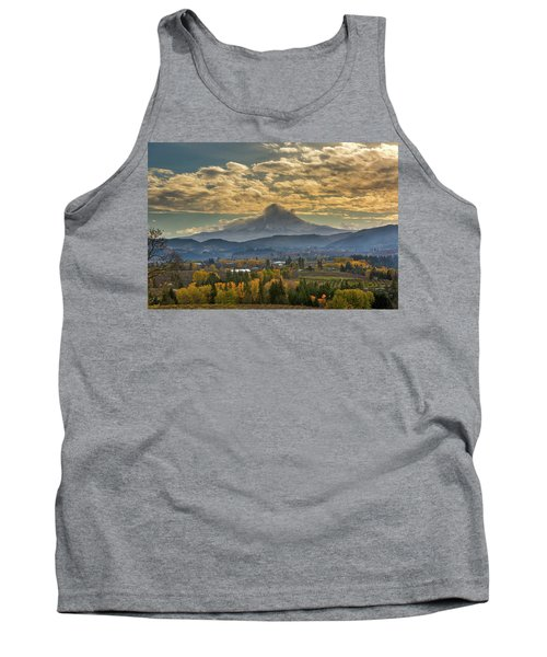 Mount Hood Over Farmland In Hood River In Fall Tank Top