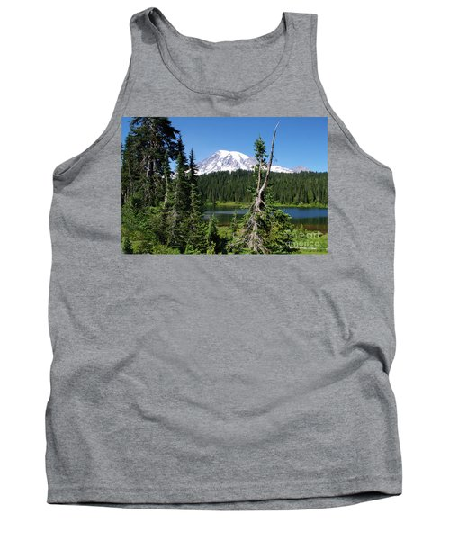 Mountain Lake And Mount Rainier Tank Top by Ansel Price