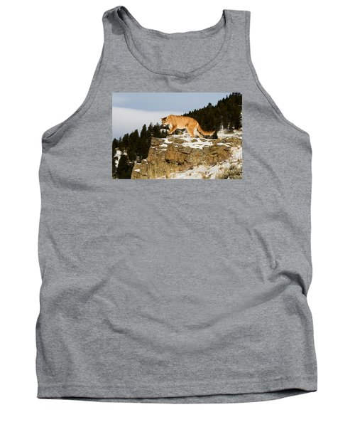 Mountain Lion On Rocks Tank Top