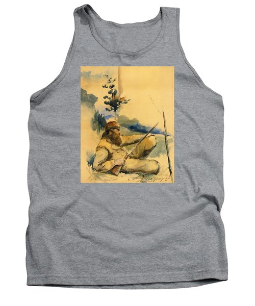 Tank Top featuring the drawing Mountain Man by Charles Schreyvogel